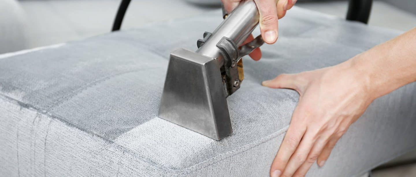 Couch upholstery being professionally cleaned